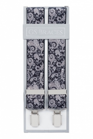 Black and Grey Paisley Braces